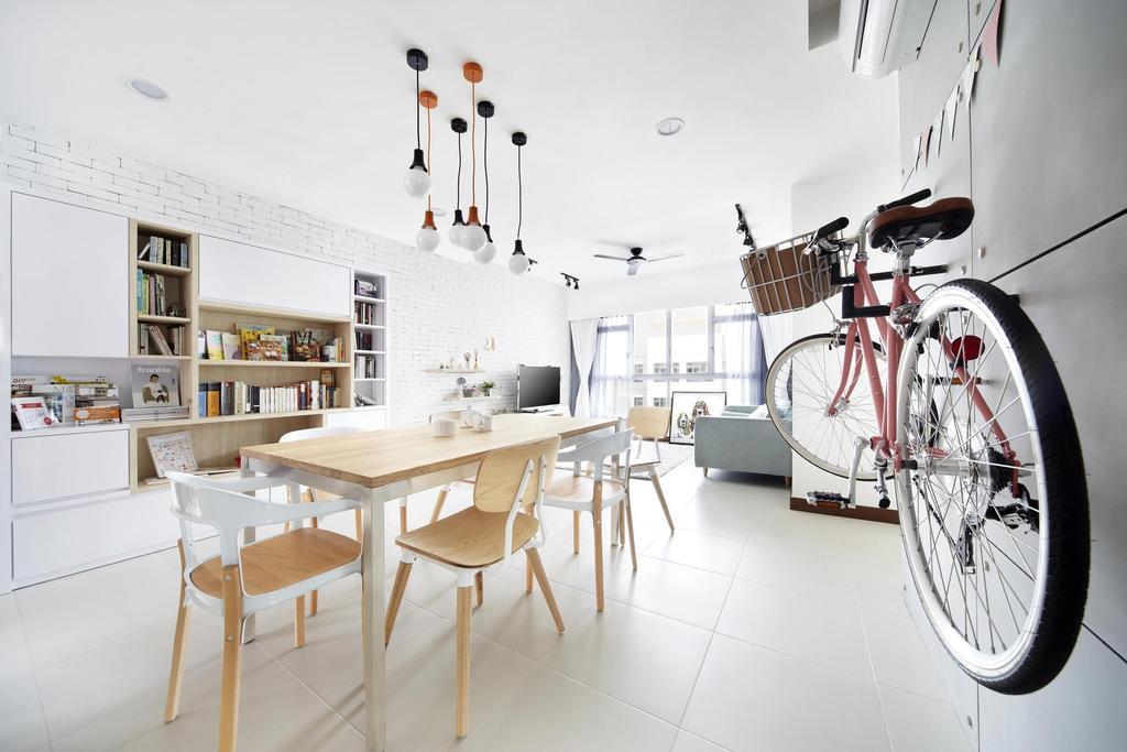 Scandinavian, HDB, Dining Room, Punggol Walk, Interior Designer, Free Space Intent, Bicycle, Dining Table, Hanging Light, Lighting, Table, Chair, Display Unit, Shelf, Shelves, Bookcase, Bookshelf, White, Cabinet, Gray, Furniture, Desk