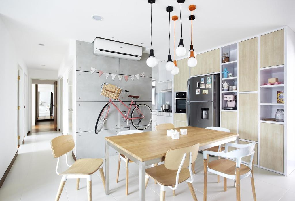 Scandinavian, HDB, Dining Room, Punggol Walk, Interior Designer, Free Space Intent, Bicycle, Dining Table, Table, Chair, Wood, Laminate, Wood Laminate, Cabinet, Gray, Tile, Tiles, White, Shelf, Shelves, Furniture, Indoors, Interior Design, Room