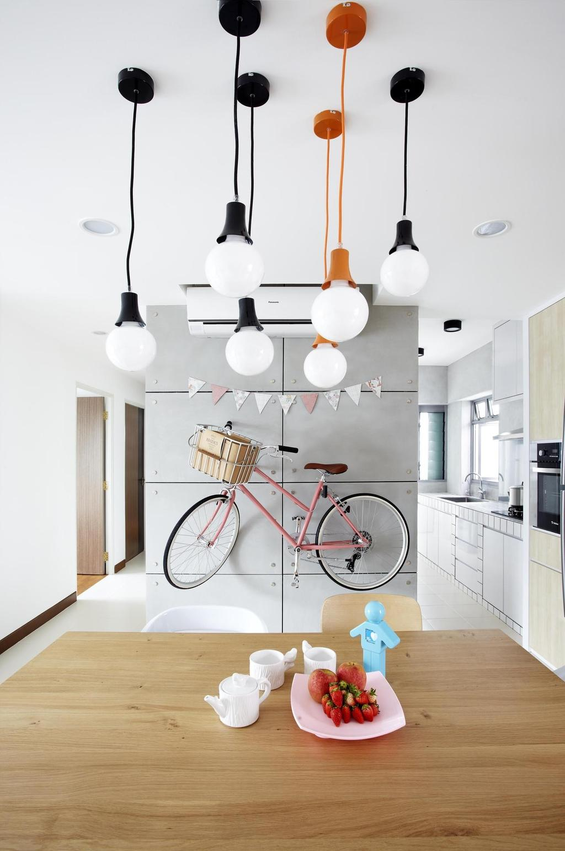 Scandinavian, HDB, Dining Room, Punggol Walk, Interior Designer, Free Space Intent, Wood Laminate, Wood, Laminate, Dining Table, Table, Hanging Light, Lighting, Bicycle, Tile, Tiles, Gray, White