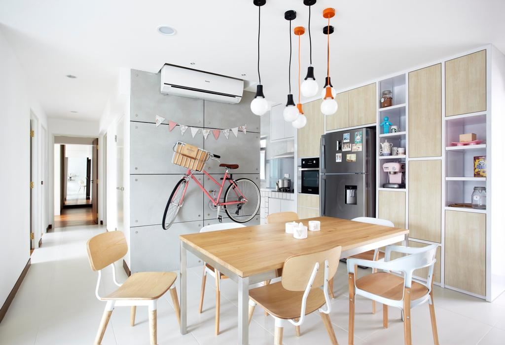 Scandinavian, HDB, Dining Room, Punggol Walk, Interior Designer, Free Space Intent, Dining Table, Table, Chair, Wood Laminate, Wood, Laminate, Hanging Light, Lighting, Brick Wall, White Brick Wall, Whitewashed Brick, Shelf, Shelves, Display Shelf, Display Unit, Cabinet, Bookcase, Bookshelf, White, Furniture, Indoors, Interior Design, Room, Plywood