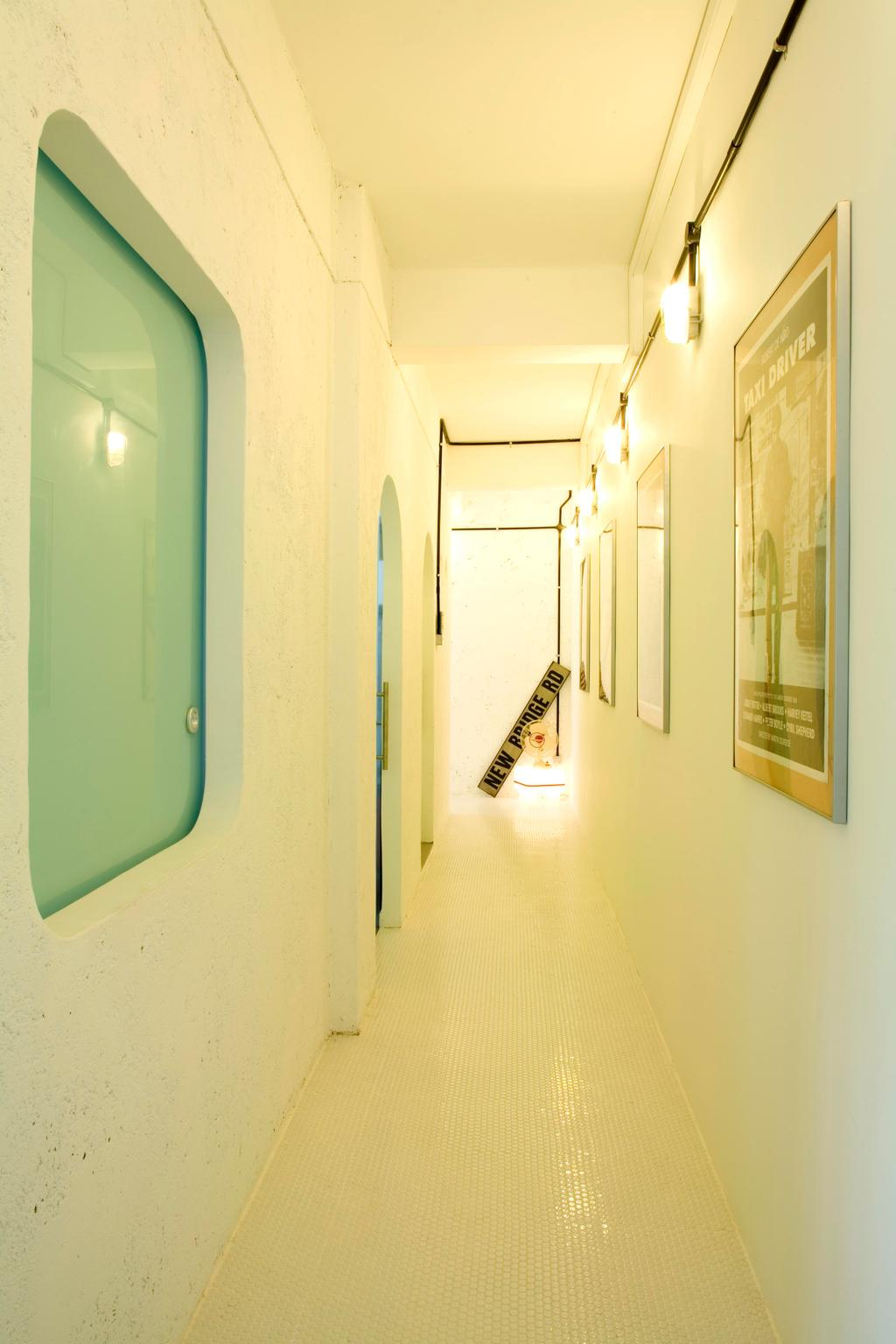 Eclectic, HDB, Living Room, Tiong Bahru, Interior Designer, Free Space Intent, White, Corridor, Wall Lamp, Wall Art, Tile, Tiles, Stone Wall, Raw