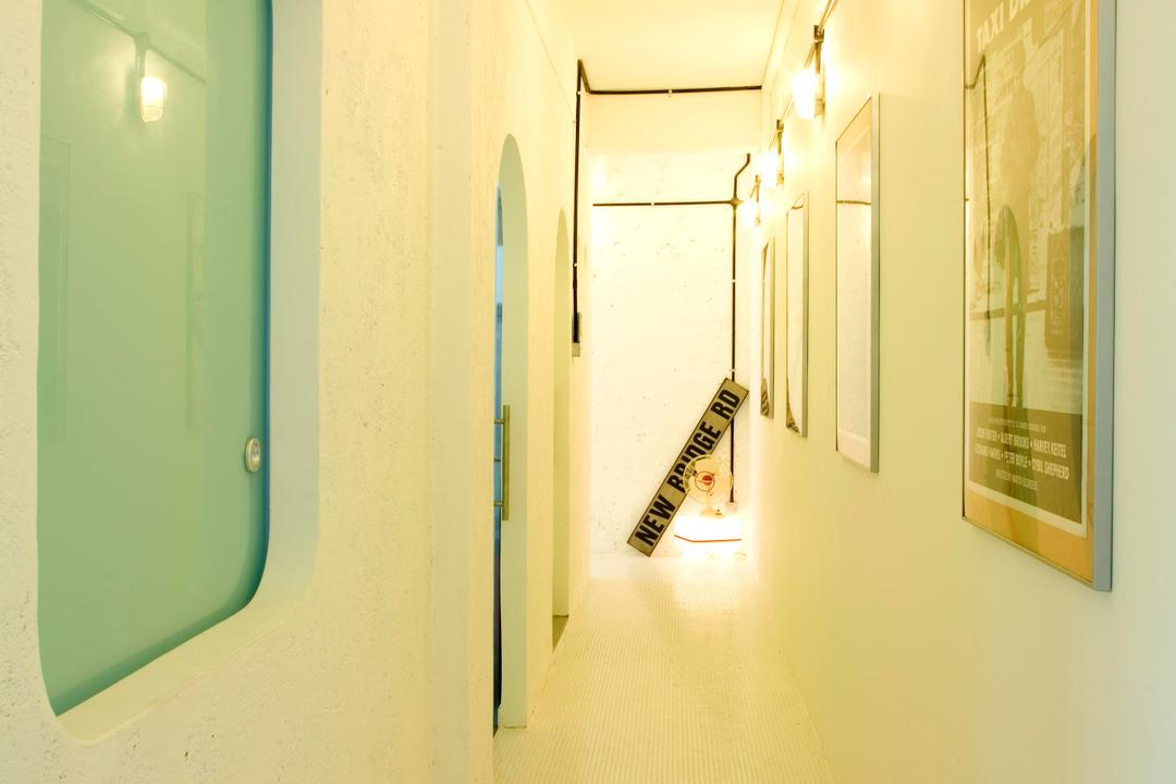 Tiong Bahru, Free Space Intent, Eclectic, Living Room, HDB, White, Corridor, Wall Lamp, Wall Art, Tile, Tiles, Stone Wall, Raw