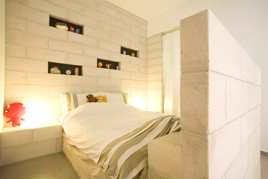 Tiong Bahru, Free Space Intent, Eclectic, Bedroom, HDB, Brick Wall, White Brick Wall, Display Shelf, Shelf, Shelves, Ornaments, Side Table, Night Stand, Raw, Whitewashed Brick, White, Bed, Furniture