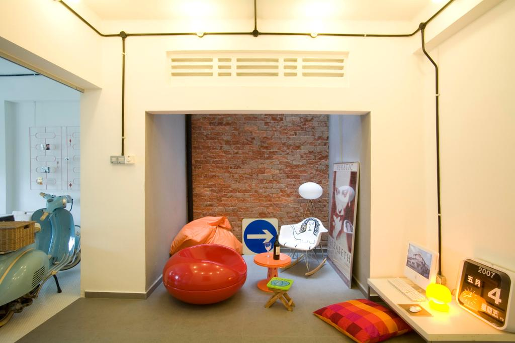Eclectic, HDB, Study, Tiong Bahru, Interior Designer, Free Space Intent, White, Cushions, Table, Clock, Painting, Brick Wall, Raw, Beanbag, Chair, Rocing Chair, Side Table, Gray, Motor Scooter, Motorcycle, Transportation, Vehicle, Vespa, Bowl