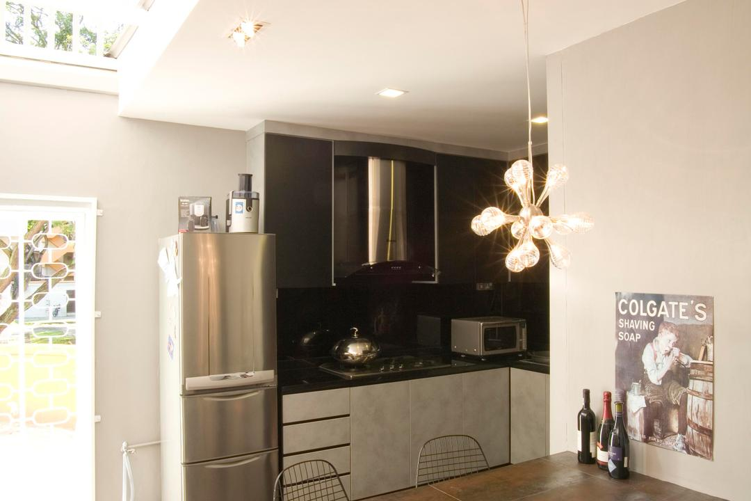 Tiong Bahru, Free Space Intent, Eclectic, Kitchen, HDB, Skylight, Table, Dining Table, Chair, Kitchen Counter, Exhaust Hood, Black, Pendant Light, Lighting, Hanging Light, Gray, White, Tile, Tiles, Stone Flooring, Indoors, Interior Design, Dining Room, Room