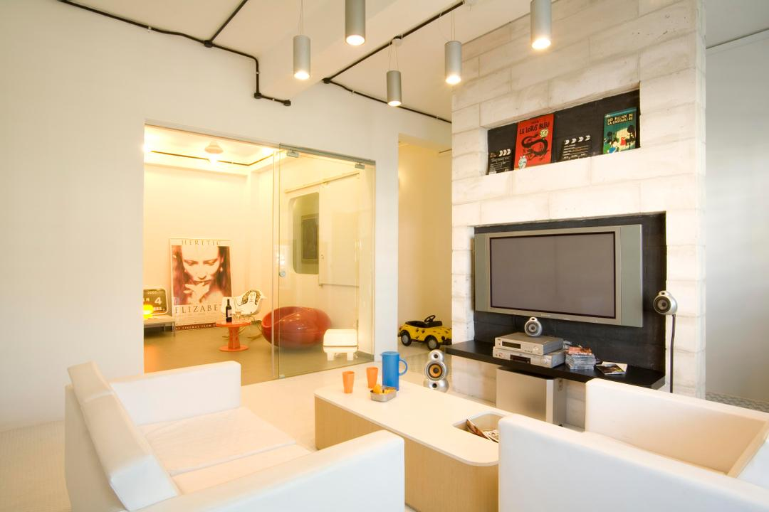 Tiong Bahru, Free Space Intent, Eclectic, Living Room, HDB, Hanging Light, Lighting, Sofa, Armchair, Chair, Display Shelf, Brick Wall, White Brick Wall, White, Tv Console, Sliding Glass Doors, Painting, Coffee Table, Table, Indoors, Interior Design