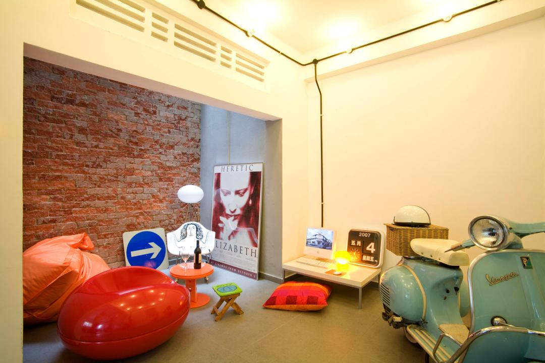 Tiong Bahru, Free Space Intent, Eclectic, Study, HDB, White, Table, Clock, Brick Wall, Raw, Wall Art, Chair, Beanbag, Side Table, Rocking Chair, Gray, Motor Scooter, Motorcycle, Transportation, Vehicle, Vespa
