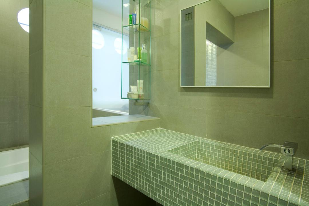 Tiong Bahru, Free Space Intent, Eclectic, Bathroom, HDB, Tile, Tiles, Blue, Mirror, Mosaic Tiles, Mosaic, Gray, Grayscale, Cut Out Wall, Shelf, Shelves, Indoors, Interior Design, Room