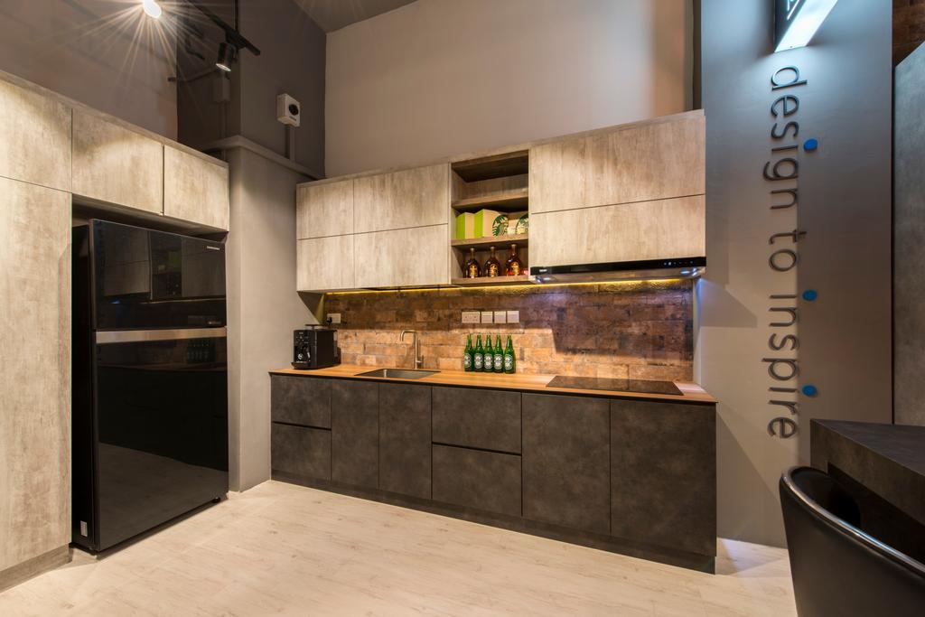 Project Guru Showroom, Commercial, Interior Designer, Project Guru, Industrial, Kitchen Cabinet, Cabinetry, Rustic, Backplash, Brick Backsplash, Under Cabinet Lighting, Grey Walls, Indoors, Interior Design, Kitchen, Room, Plywood, Wood