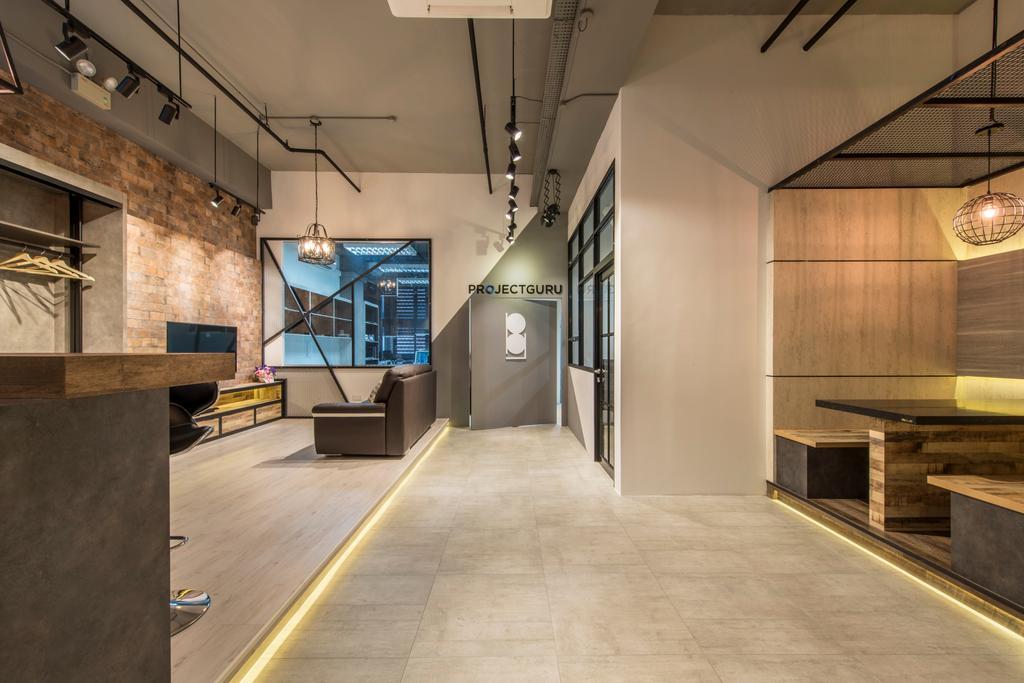 Project Guru Showroom, Commercial, Interior Designer, Project Guru, Industrial, Cement Screed, Concrete Flooring, Grey, Gray, Grey Colour, Greyish Tones, Track Lighting, Brick Wall, Flooring