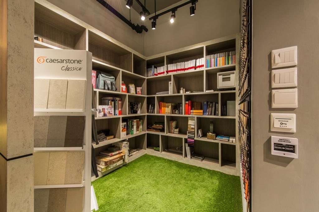 Project Guru Showroom, Commercial, Interior Designer, Project Guru, Industrial, Green Carpet, Office, Shop, Switches, Bookshelf, Storage, Storage Space, Files, Books, Bookcase, Indoors, Interior Design, Library, Room, Furniture