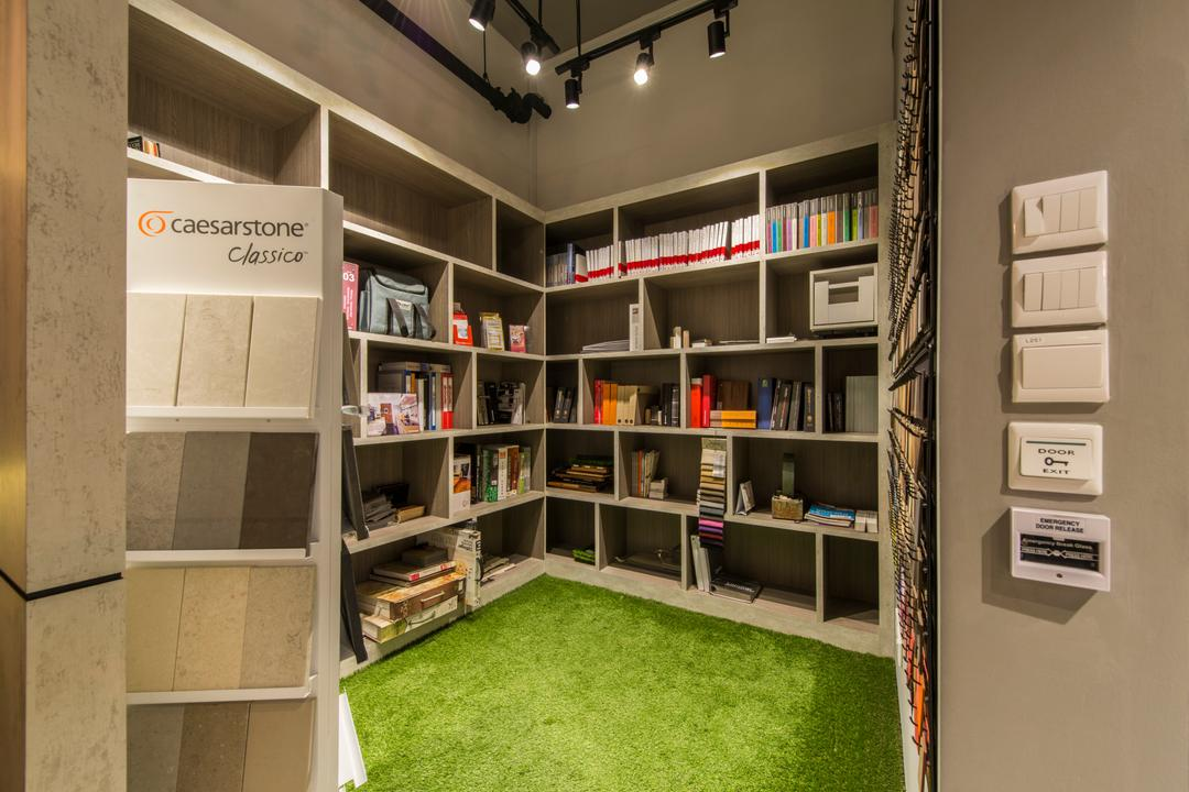Project Guru Showroom, Project Guru, Industrial, Commercial, Green Carpet, Office, Shop, Switches, Bookshelf, Storage, Storage Space, Files, Books, Bookcase, Indoors, Interior Design, Library, Room, Furniture