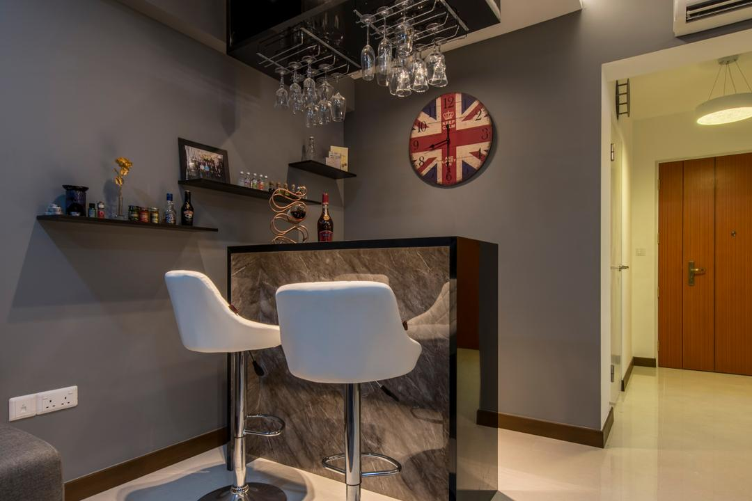 Upper Serangoon Crescent (Block 473B), Project Guru, Traditional, Dining Room, HDB, Bar Stools, High Stools, Glass Rack, Hanging Glass Rack, Grey Wall, Wall Clock, Chair, Furniture, Chandelier, Lamp, Indoors, Interior Design, Room, Flooring