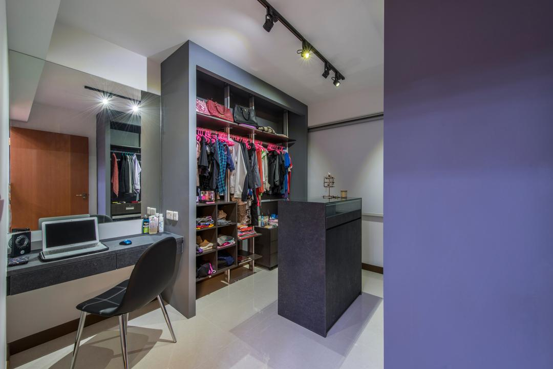 Upper Serangoon Crescent (Block 473B), Project Guru, Traditional, Bedroom, HDB, Dressing Table, Vanity Table, Mirror, Track Lighting, Black Track Lighting, Chair, Furniture