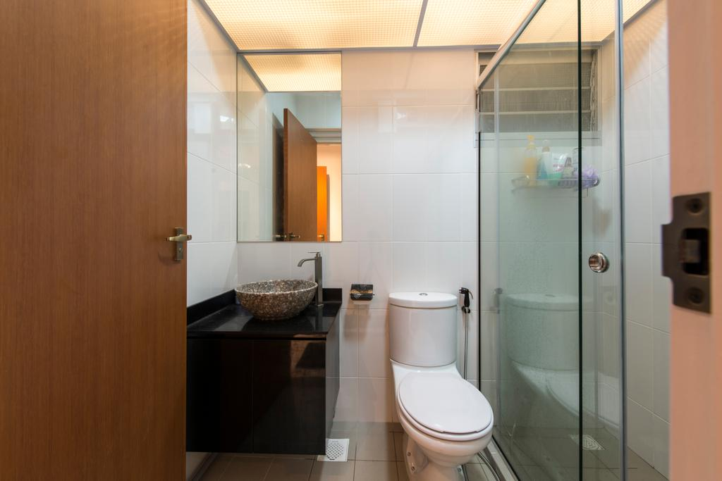 Traditional, HDB, Bathroom, Upper Serangoon Crescent (Block 473B), Interior Designer, Project Guru, Water Closet, Toilet Bowl, Shower Door, Bathroom Vanity, Bowl Sink, Vessel Sink, Mirror, Bathroom Cabinet, Indoors, Interior Design, Room