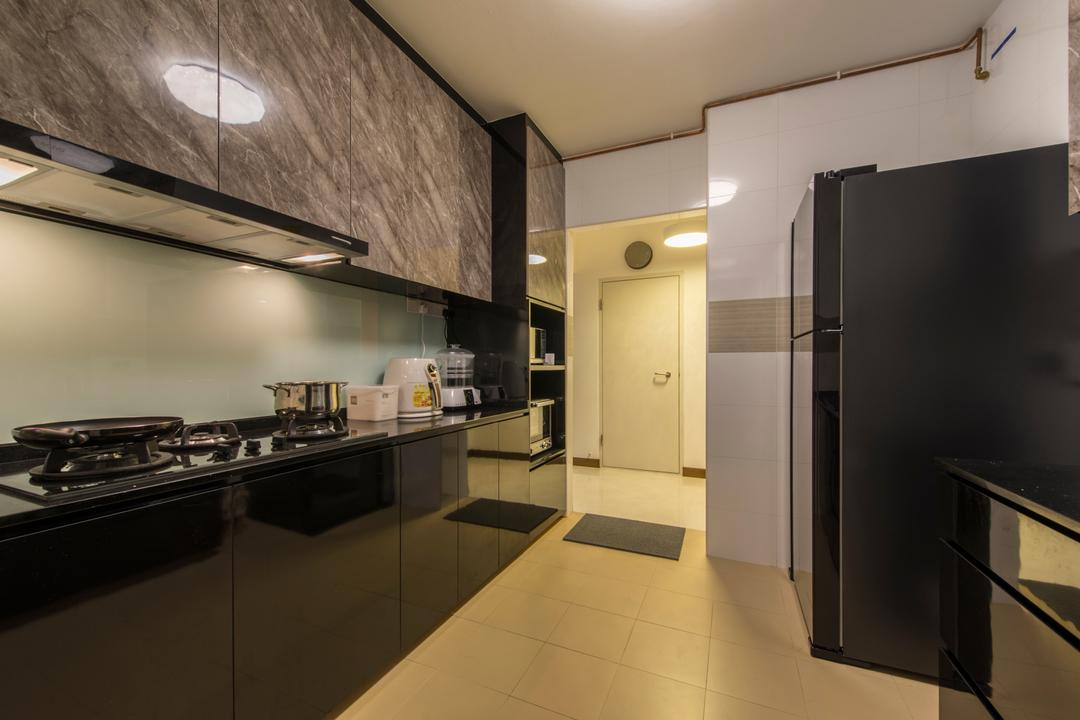 Upper Serangoon Crescent (Block 473B), Project Guru, Traditional, Kitchen, HDB, Kitchen Cabinet, Black Cabinet, Black And Grey, Black Kitchen, Kitchen Cabinetry, Refrigerator, Stove, Appliance, Electrical Device, Oven, Indoors, Interior Design, Room