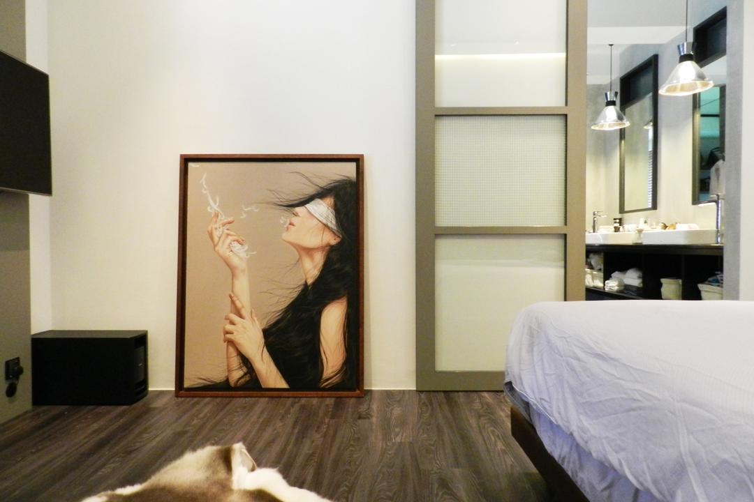 The Imperial, Habit, Eclectic, Bedroom, Condo, Master Bedroom, Painting, Parquet, Rug, White, Glass Sliding Doors, Hanging Light, Lighting, Art, Bed, Furniture, Indoors, Interior Design, Room