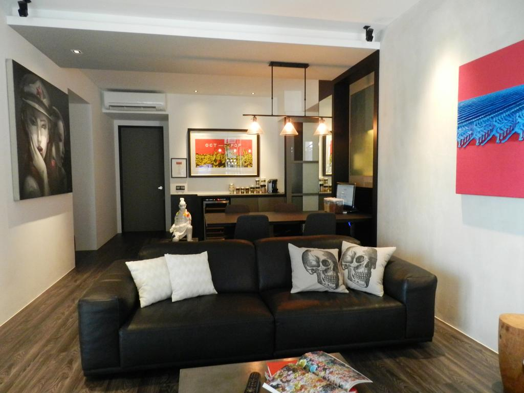 Eclectic, Condo, Living Room, The Imperial, Interior Designer, Habit, Painting, Sofa, Cushions, Parquet, White, Hanging Light, Lighting, Mounted Speakers, Couch, Furniture, Indoors, Room
