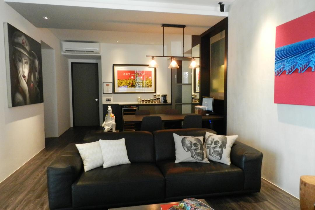 The Imperial, Habit, Eclectic, Living Room, Condo, Painting, Sofa, Cushions, Parquet, White, Hanging Light, Lighting, Mounted Speakers, Couch, Furniture, Indoors, Room