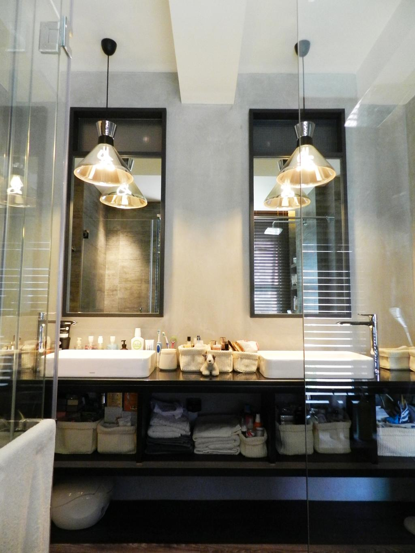 Eclectic, Condo, Bathroom, The Imperial, Interior Designer, Habit, Mirror, Hanging Light, Lighting, Vessel Sink, Bathroom Counter, Shelf, Shelves, Gray, Indoors, Interior Design, Room, Dining Room, Lamp