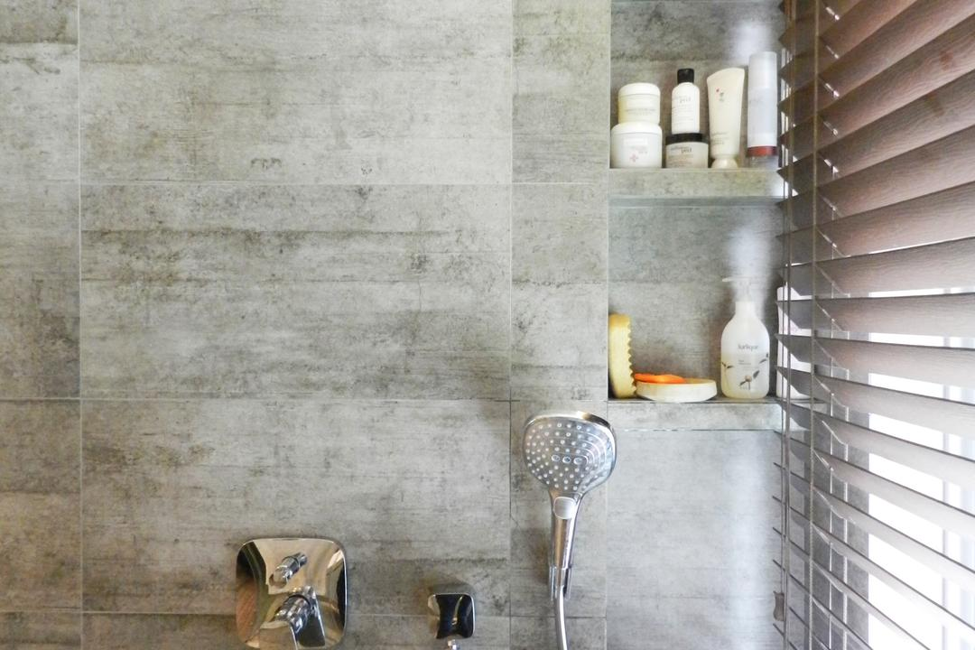 The Imperial, Habit, Eclectic, Bathroom, Condo, Gray, Shelf, Shelves, Venetian Blinds, Recessed Shelf, Recessed Shelves, Indented Shelf, Indented Shelves, Tile, Tiles