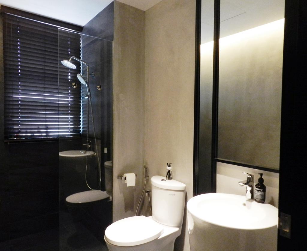 Eclectic, Condo, Bathroom, The Imperial, Interior Designer, Habit, Venetian Blinds, Flass Wall, Rain Shower, Mirror, Gray, Cement Wall, Toilet, Indoors, Interior Design, Room