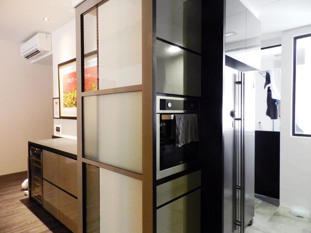 Eclectic, Condo, Kitchen, The Imperial, Interior Designer, Habit, Glass Sliding Doors, White, Painting, Wine Cooler, Cabinet, Appliance, Electrical Device, Oven