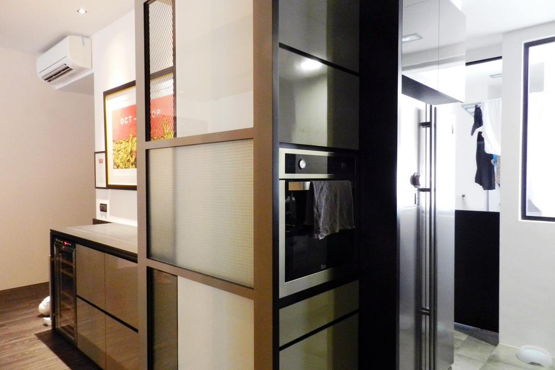 The Imperial, Habit, Eclectic, Kitchen, Condo, Glass Sliding Doors, White, Painting, Wine Cooler, Cabinet, Appliance, Electrical Device, Oven