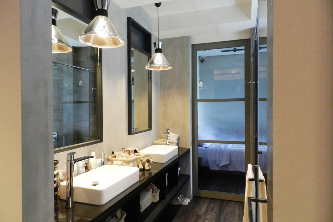 The Imperial, Habit, Eclectic, Bathroom, Condo, Glass Doors, Hanging Light, Lighting, Mirror, Vessel Sink, Bathroom Counter, Shelf, Shelves, Gray, Sink, Indoors, Interior Design, Room, Light Fixture