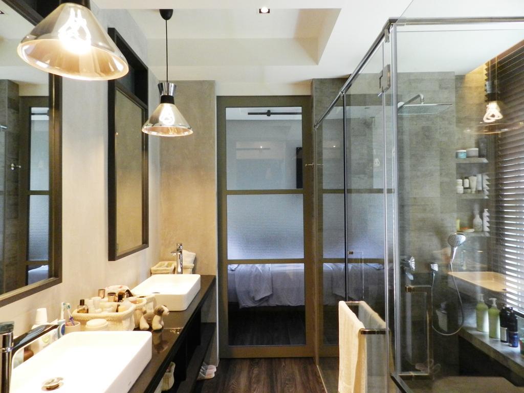 Eclectic, Condo, Bathroom, The Imperial, Interior Designer, Habit, Mirror, Hanging Light, Lighting, Vessel Sink, Bathroom Counter, Glass Doors, Glass Cubicle, Gray, Sink, Indoors, Interior Design, Room