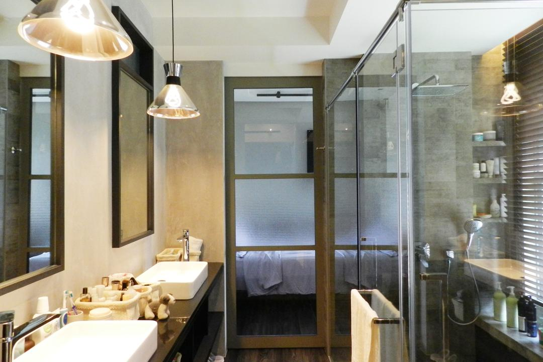 The Imperial, Habit, Eclectic, Bathroom, Condo, Mirror, Hanging Light, Lighting, Vessel Sink, Bathroom Counter, Glass Doors, Glass Cubicle, Gray, Sink, Indoors, Interior Design, Room