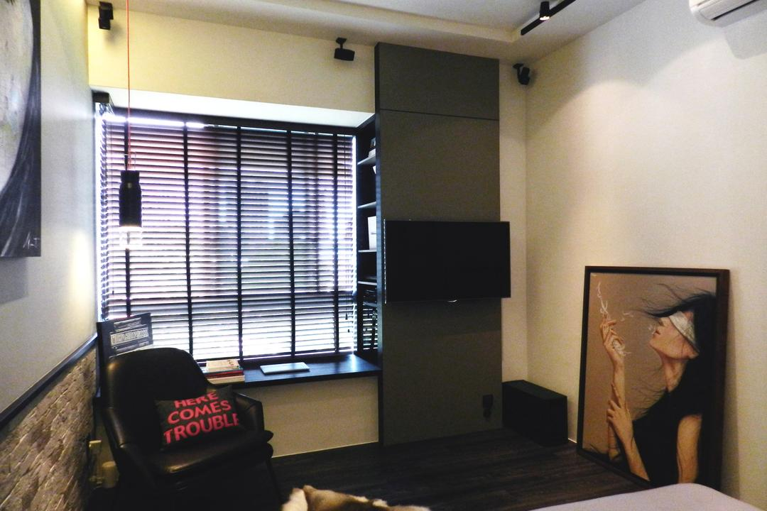 The Imperial, Habit, Eclectic, Bedroom, Condo, Master Bedroom, Painting, White, Window Seat, Venetian Blinds, Shelf, Shelves, Armchair, Cushions, Hanging Light, Lighting, Gray, Brick Wall, Mounted Speakers, Couch, Furniture, HDB, Building, Housing, Indoors, Art