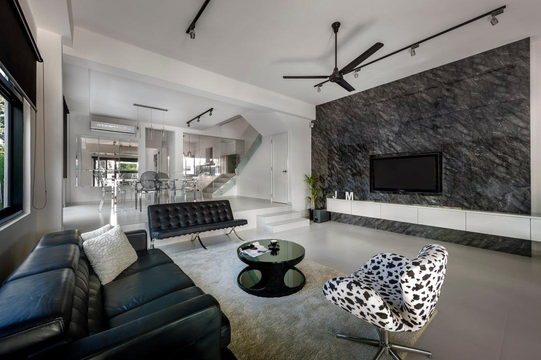 Sunbird Avenue (Changi), Third Avenue Studio, Modern, Living Room, Landed, Rug, Coffee Table, Armchair, Sofa, Quilted, Loveseat, Ceiling Fan, Marble Wall, Tv Console, White, Gray, Track Lighting, Steps, Monochrome, Spacious, Couch, Furniture, Chair, HDB, Building, Housing, Indoors, Loft, Room