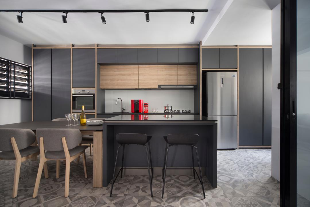 Dakota Crescent (Block 60), The Scientist, Contemporary, Retro, Kitchen, HDB, Glass Backsplash, Tiles, Patterned Tilse, Grey Cabinet, Shades Of Grey, Track Lights, Trackies, Gray Door, Grey Cabinets, Dining Table, Furniture, Table, Chair, Indoors, Interior Design, Room, Bench, Dining Room