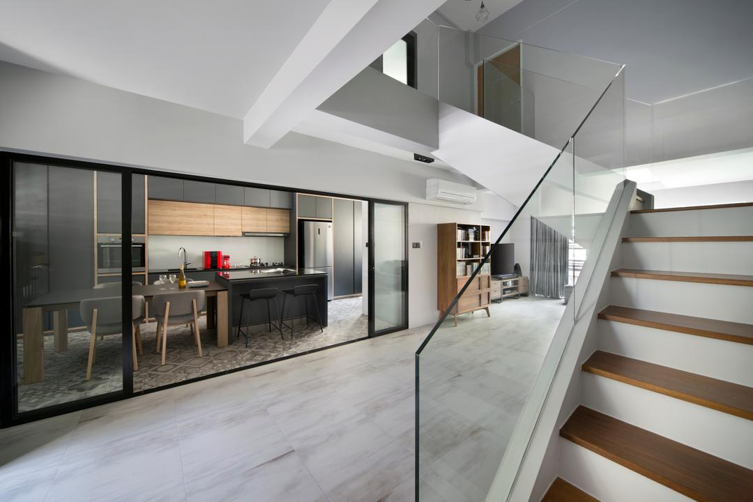 Dakota Crescent (Block 60), The Scientist, Contemporary, Retro, Living Room, HDB, Staircase, Stairs, Hallway, Entrance, Glass Railing, Hand Rail, Stairs Railing, Lower Level, Lower Floor, Banister, Handrail, Door, Sliding Door, Indoors, Interior Design, Building, Housing, Loft