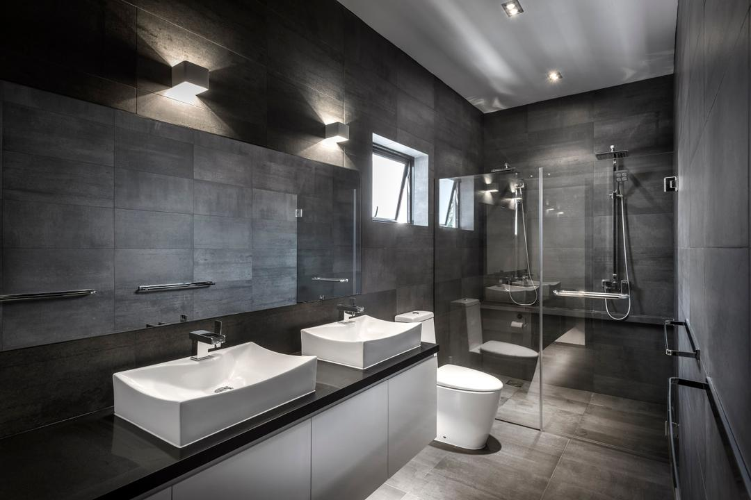 Sunbird Avenue (Changi), Third Avenue Studio, Modern, Bathroom, Landed, Grayscale, Wall Lamp, Lighting, Vessel Sink, Bathroom Counter, Mirror, Monochrome, Glass Cubicle, Rain Shower, Gray, Indoors, Interior Design, Room