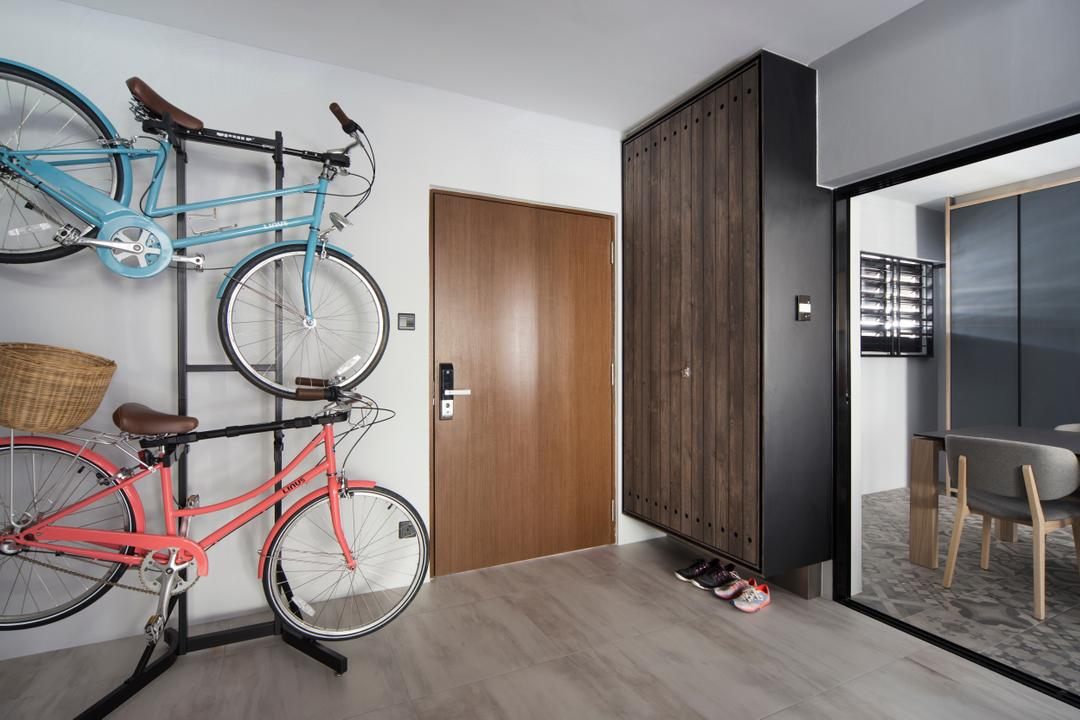 Dakota Crescent (Block 60), The Scientist, Contemporary, Retro, Living Room, HDB, Hallway, Entrance, Bicycle Rack, Shoe Cabinet, Suspended Shoe Cabinet, Floating Shoe Cabinet, Digital Lock, Bicycle, Bike, Transportation, Vehicle, Dining Table, Furniture, Table, Building, Housing, Indoors