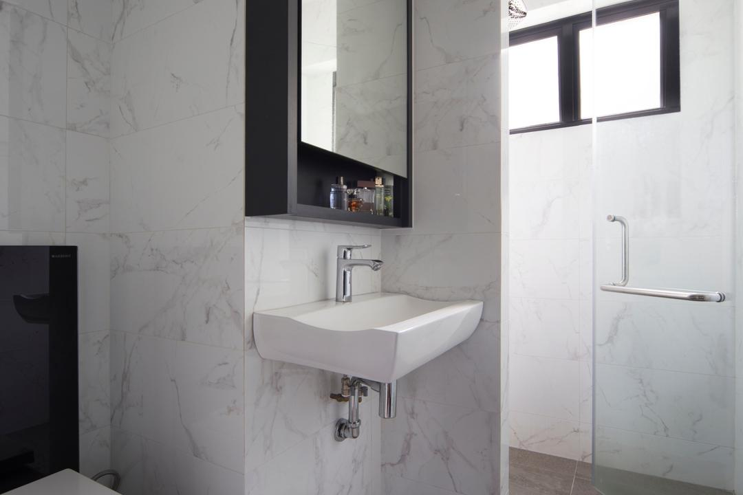 Dakota Crescent (Block 60), The Scientist, Contemporary, Retro, Bathroom, HDB, Tiles, Vanity Cabinet, Shower Cubicle, Shower Area, Glass Door, Glass Swing Door, Sink, Indoors, Interior Design, Room, Window