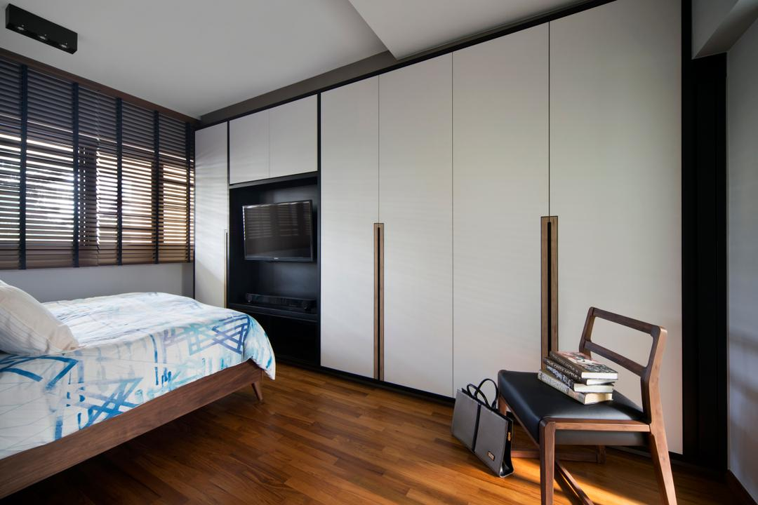 Dakota Crescent (Block 60), The Scientist, Contemporary, Retro, Bedroom, HDB, Retro Touch, Dark Blinds, Dark Venetian Blinds, Bedframe, Wooden Bedframe, Venetian Blinds, Chair, Wardrobe, Tv In Bedroom, Furniture, Bed