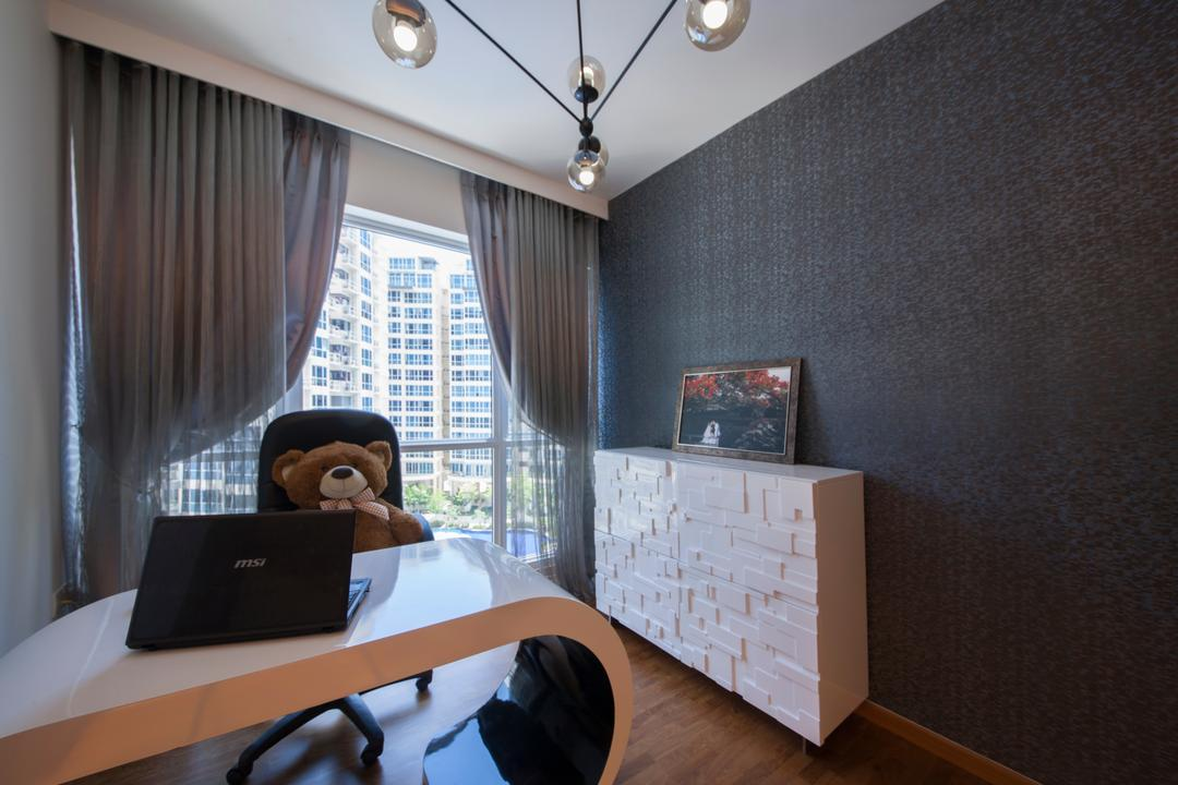 The Tampines Trilliant, Edge Interior, Modern, Study, Condo, Study Table, Office Chair, Dark Walls, Side Cabinet, Wallpaper, Black Wallpaper, Ceiling Lamp, Curtains, Grey Curtains, Work Desk, Workstation