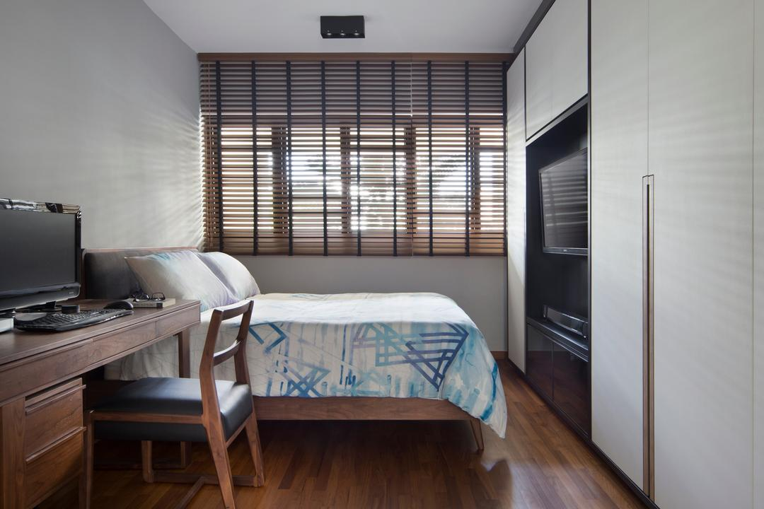 Dakota Crescent (Block 60), The Scientist, Contemporary, Retro, Bedroom, HDB, Parquet Flooring, Wooden Flooring, Wood Flooring, Study Table, Study Desk, Brown Venetian Blinds, Small Room, Linear Layout, Computer, Electronics, Laptop, Pc, Bed, Furniture, Chair, Indoors, Interior Design, Room, Hardwood, Stained Wood, Wood