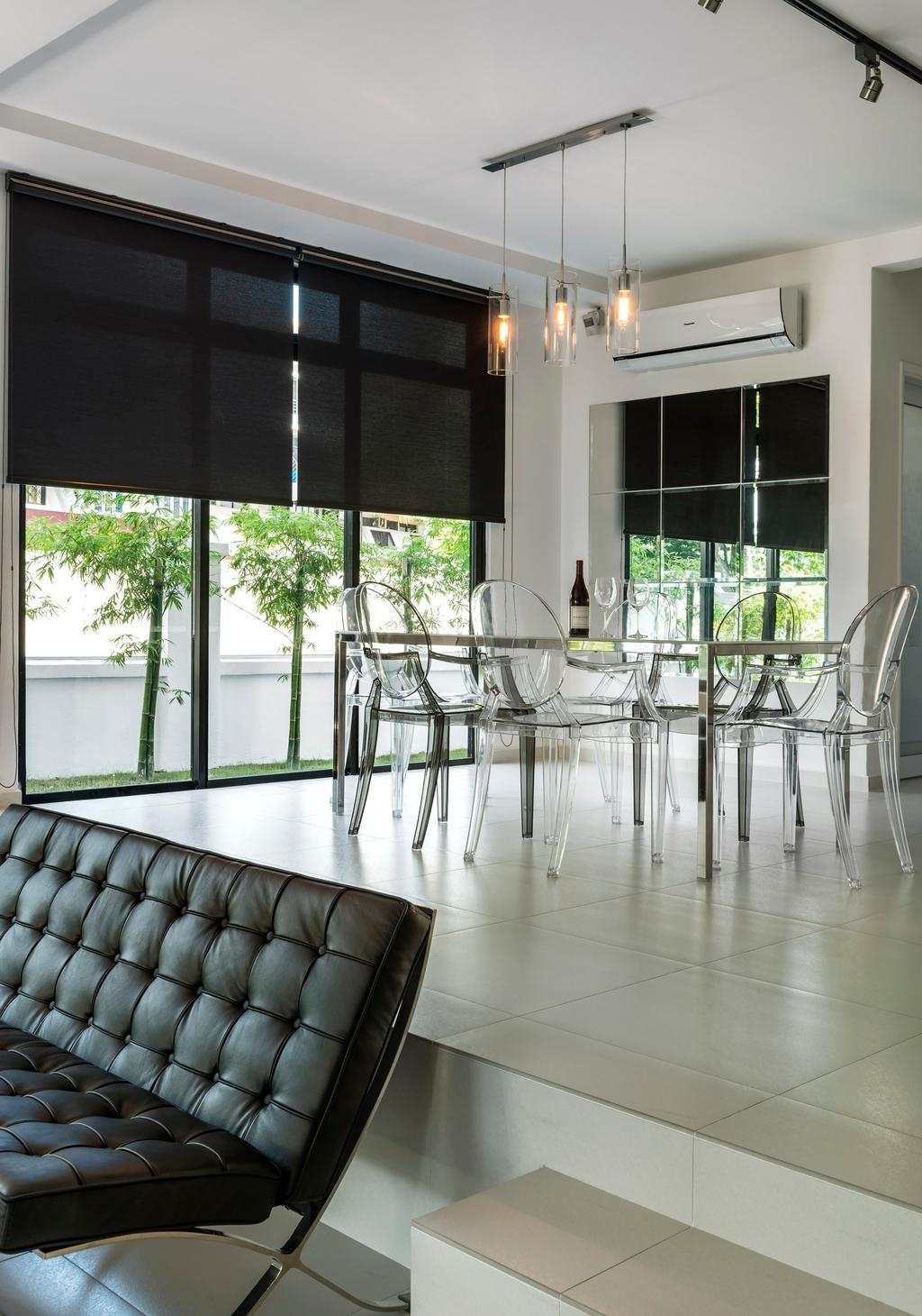 Modern, Landed, Dining Room, Sunbird Avenue (Changi), Interior Designer, Third Avenue Studio, Dining Table, Table, Chair, Blinds, Sofa, Quilted, Loveseat, Full Length Windows, Mirror, Tile, Tiles, Steps, Hanging Light, Lighting, Pendant Light, White, Black, Flora, Jar, Plant, Potted Plant, Pottery, Vase, Furniture