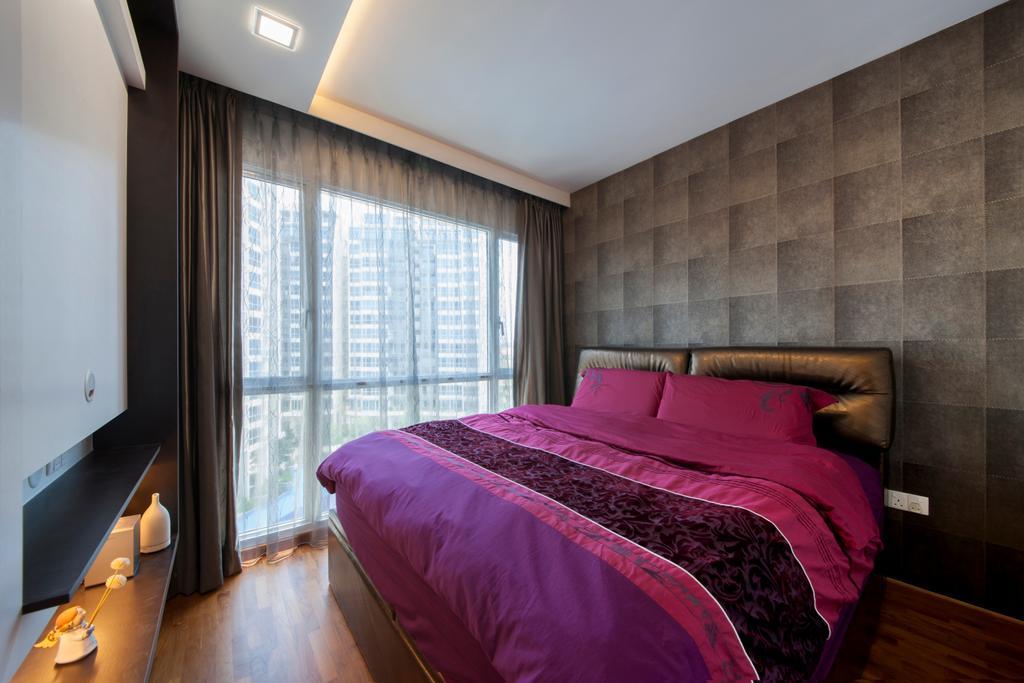 Modern, Condo, Bedroom, The Tampines Trilliant, Interior Designer, Edge Interior, Wallpaper, Brown Wallpaper, Headboard, Pink Bed, Gold, Bed, Furniture, Indoors, Interior Design, Room