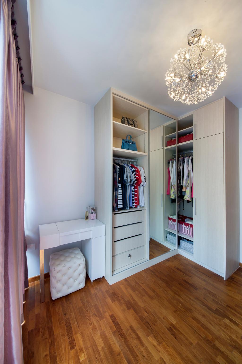 Modern, Condo, Bedroom, The Tampines Trilliant, Interior Designer, Edge Interior, Chandelier, Crystal Lights, Wardrobe, Wood Floor, Wooden Flooring, Clothes, Dressing Table, White Wardrobe, Ottoman