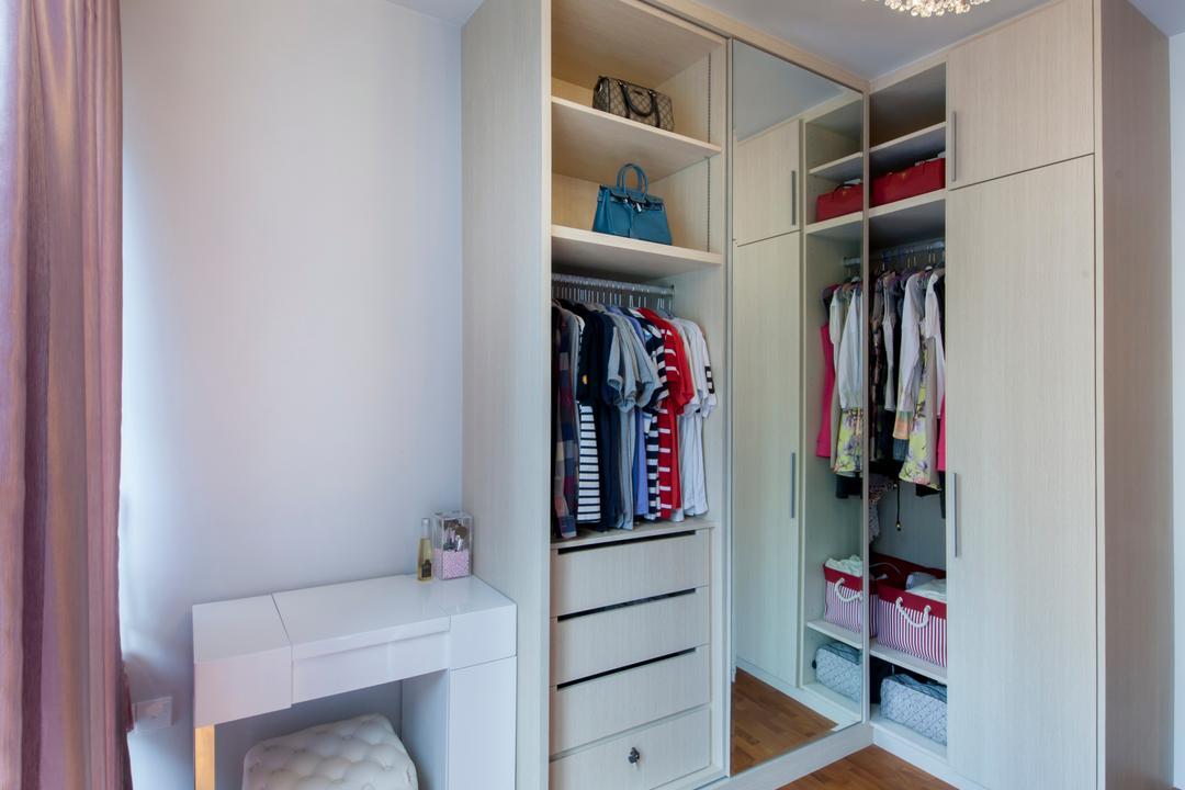 The Tampines Trilliant, Edge Interior, Modern, Bedroom, Condo, Chandelier, Crystal Lights, Wardrobe, Wood Floor, Wooden Flooring, Clothes, Dressing Table, White Wardrobe, Ottoman