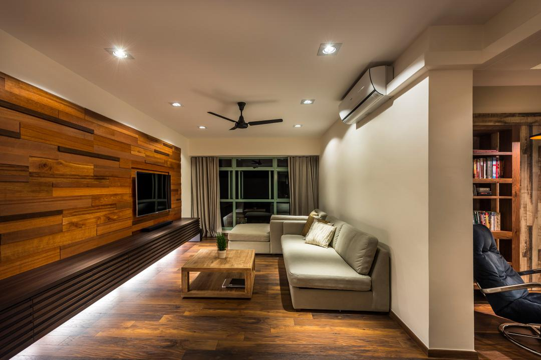 Punggol Drive (Block 642), Third Avenue Studio, Modern, Living Room, HDB, Sofa, Coffee Table, Table, Parquet, Ceiling Fan, Tv Console, Wood Laminate, Wood, Laminate, Parquet Wall, Woodwork, Rustic, Indoors, Interior Design, Furniture