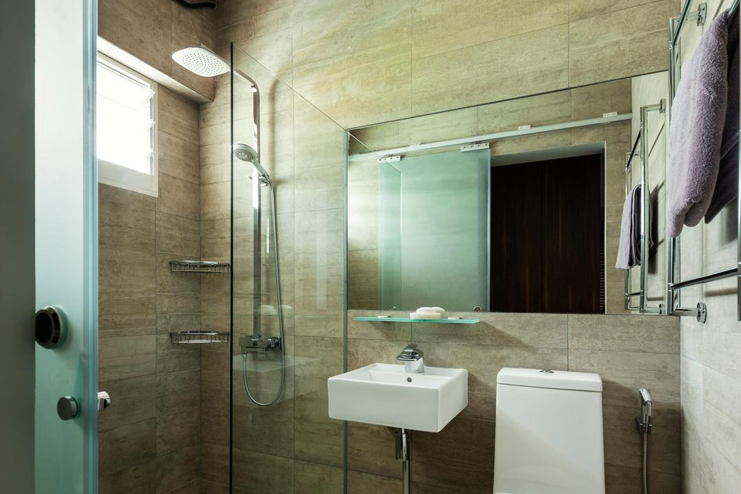 Tampines Avenue 5 (Block 943), Third Avenue Studio, Scandinavian, Bathroom, HDB, Tile, Tiles, Mirror, Rain Shower, Glass Cubicle, Lighting, Neutral Tones, Beige, Indoors, Interior Design, Room, Sink