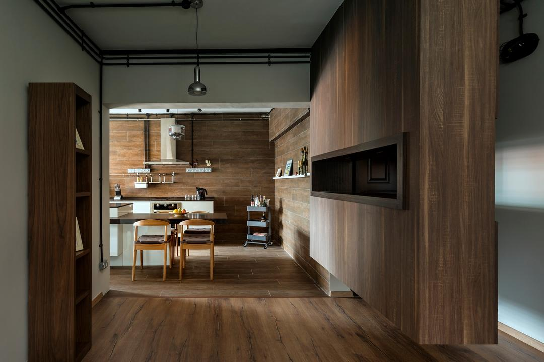 Tampines Avenue 5 (Block 943), Third Avenue Studio, Scandinavian, Kitchen, HDB, Rustic, Wood Laminate, Wood, Laminate, Parquet, Woodwork, Shelf, Shelves, Hanging Light, Lighting, Chair, Parquet Wall, Dining Table, Furniture, Table