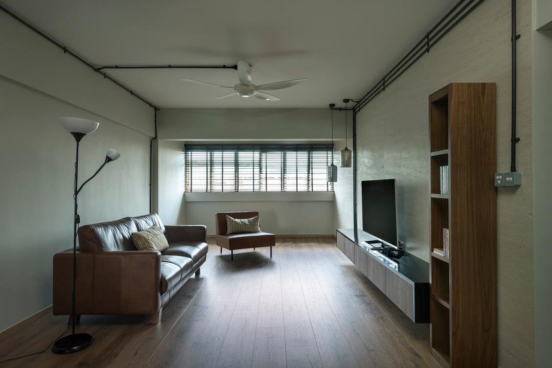 Tampines Avenue 5 (Block 943), Third Avenue Studio, Scandinavian, Living Room, HDB, Ceiling Fan, Tv Console, Plank Flooring, Parquet, Shelf, Shelves, White, Standing Lamp, Sofa, Chair, Rustic, Leather, Wood Laminate, Wood, Laminate, Woodwork, Hanging Light, Lighting, Pendant Light, Couch, Furniture, Indoors, Room, Waiting Room