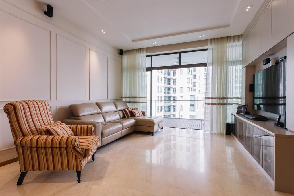 Contemporary, Condo, Living Room, Surrey Road, Interior Designer, Designe Couture, Vintage, Wainscoting Panels, Bright, Airy, Marble Flooring, Marble Tiles, Armchair, Wainscoting, Leather Sofa, Day Curtains